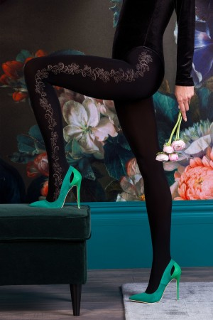 Gabriella Brenda kuvioidut mikrokuitu sukkahousut, väri musta (nero)