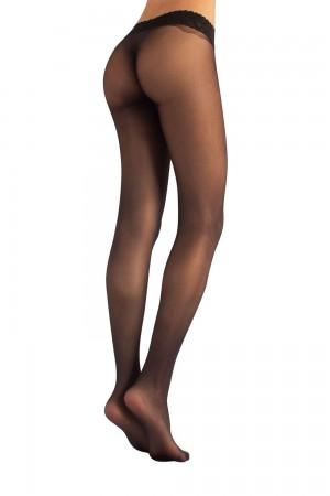 Calzitaly 15 den saumattomat sukkahousut pitsi vyötärönauhalla, väri nero