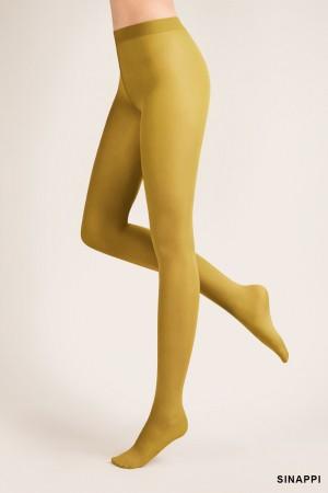 Gabriella 40 den mikrokuitu sukkahousut, väri sinappi