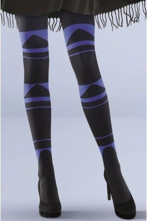 Gabriella Abby kuvioidut sukkahousut, musta / koboltti