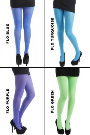 Pamela Mann 50 den värikkäät sukkahousut, värit flo blue, flo turquoise, flo purple ja flo green