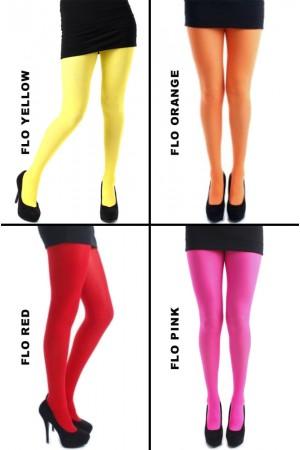 Pamela Mann 50 den värikkäät sukkahousut, värit flo yellow, flo orange, flo red ja flo pink