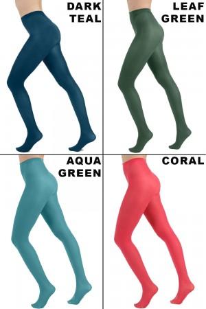 Pamela Mann 50 den värikkäät sukkahousut, värit petrol blue, leaf green, aqua green ja coral