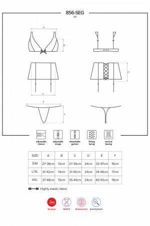Obsessive 3-osainen alusasusetti mustaa pitsiä, mittataulukko