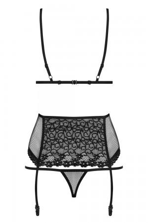 Obsessive 3-osainen musta alusasusetti, pelkkä setti takaa