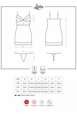 Obsessive Lovica alusmekko (chemise), mittataulukko