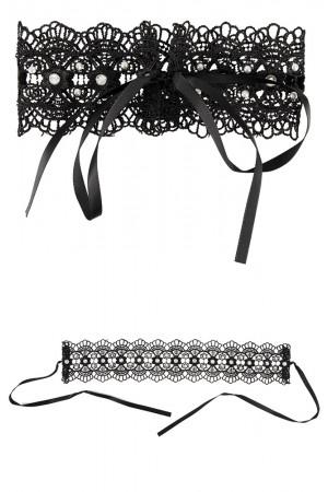 Cottelli Colection kirjailtu kaulanauha helmi ja strassi koristeilla, solmittuna ja levitettynä