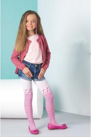 Gabriella Sisi lasten kuvioidut sukkahousut, bianco / rosa