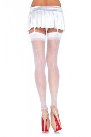 Leg Avenue 15 den nylon sukkanuhasukat saumalla, valkoinen