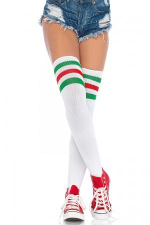Leg Avenue Athlete ylipolvensukat, white green red