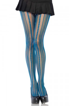 Leg Avenue Vintage Pinstripe verkkosukkahousut, peacock blue