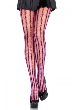 Leg Avenue Thorn Net Contrast sukkahousut, neon pinkki