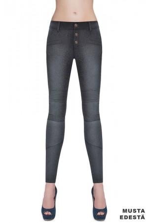 Bas Bleu Avril farkku leggingsit, musta edestä