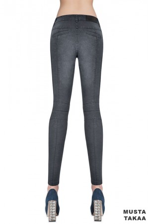 Bas Bleu Avril farkku leggingsit, musta takaa