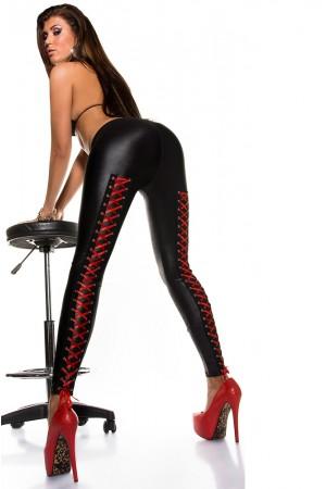 KouCla wet look legginsit punaisella nyörityksellä