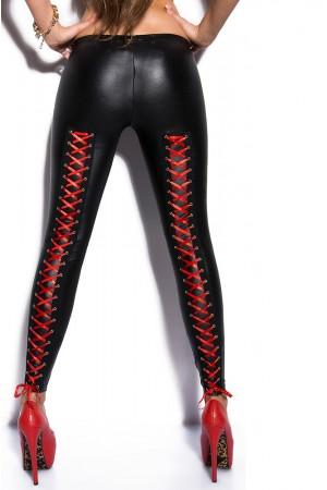 KouCla wet look legginsit punaisella nyörityksellä, takaa