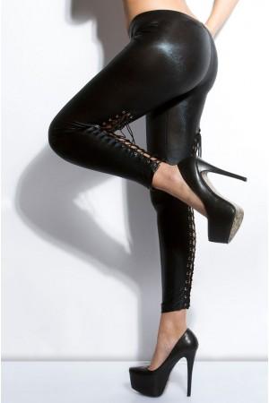 KouCla wet look legginsit nyörityksellä, musta sivulta