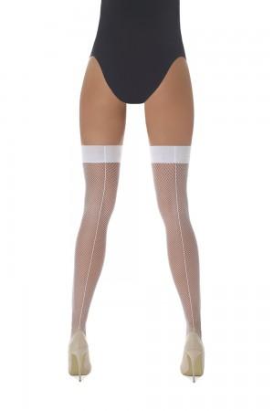 Bas Bleu Gloria 20 den verkko stay up -sukat saumalla, väri valkoinen