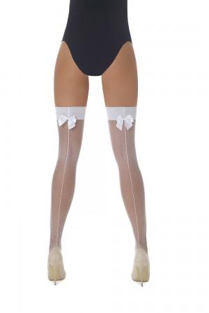 Bas Bleu Mikaela 20 den verkko stay up -sukat saumalla ja rusetilla, väri valkoinen