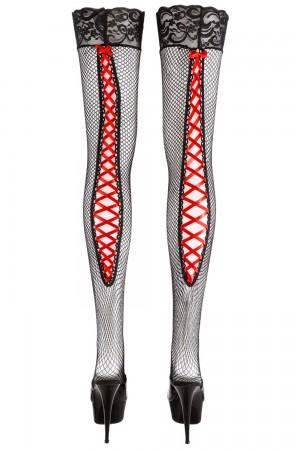 Cottelli Collection verkko stay up -sukat punaisella nyörityksellä, pelkät sukat