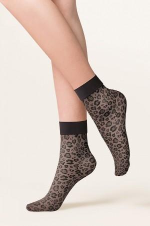 Gabriella Caty leopardi kuvioidut nilkkasukat, väri musta