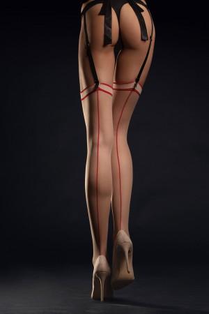 Fiore Madame 20 den sukkanauhasukat kontrastisaumalla, väri Poudre / Red