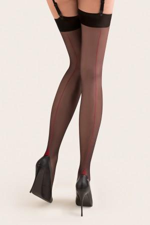 Gabriella Lido sukkanauhasukat saumalla, väri musta punaisella saumalla