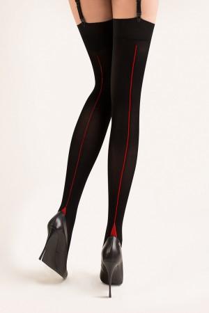 Gabriella Cruze 50 den sukkanauhasukat saumalla, musta punaisella saumalla
