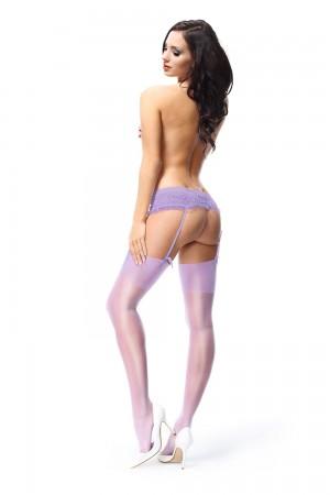 missO 15 den kiiltävät sukkanauhasukat, väri violet