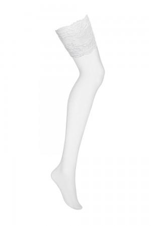 Obsessive 810 sukkanauhasukat korkealla pitsiyläosalla, pelkkä valkoinen sukka