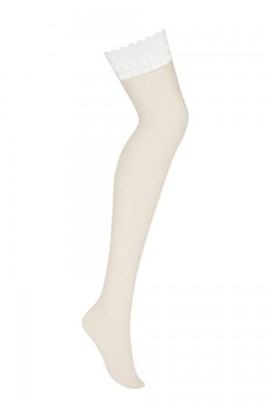 Obsessive ihonväriset sukkanauhasukat valkoisella yläosalla, pelkkä sukka